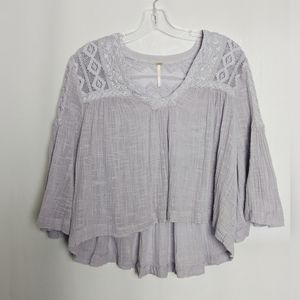 Free People Lilac Flowy Crop Lace Top Bell Slvs S